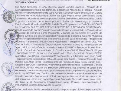 Memorial por demanda de Tren de Cercanías Barranca - Ica